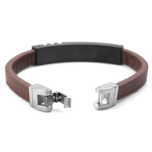 Medium Masie Steel Leather Medical ID Bracelet  inset 2