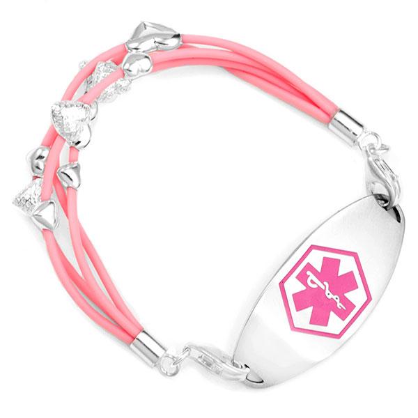 Sterling Hearts Light Pink Medical Alert Bracelets inset 2