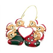 6 Bears in Stockings Christmas Ornament 4 3/8 x 4 Inch
