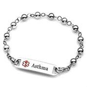 Womens Stainless Steel Beaded Asthma Bracelet