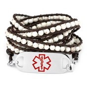 Natural White Turquoise Leather Medical Bracelet