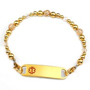 Golden Topaz Beaded Medical Bracelet for Women