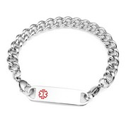Stainless Large Link Medical Alert Bracelets For Women Size 7.5 In
