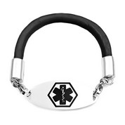 Black Rubber Medical Alert Bracelet 7.5 In