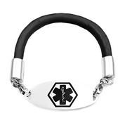 Black Rubber Medical Alert Bracelet 7.5 In