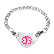 Girls Medical Heart Bracelet Pink 5 1/2 Inch