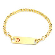Carey Medical ID Chain Bracelet 8 In Gold Stainless