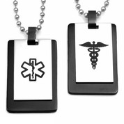 Black & Steel Double Medical Dog Tags