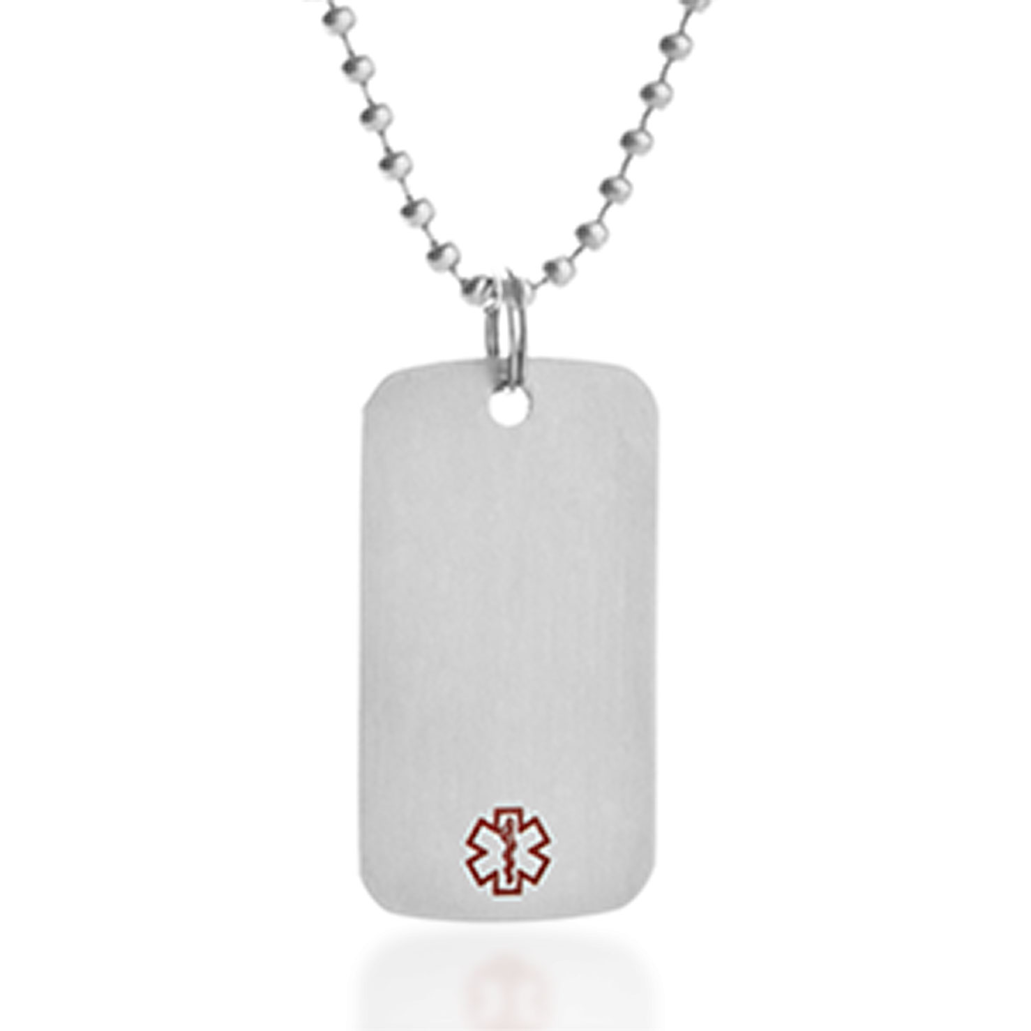 Medium Brushed Steel Medical Dog Tag