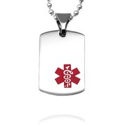 Red Stainless Medical Alert Necklace