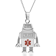 Robot Medical Alert Stainless Necklace
