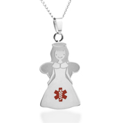 Angel Medical Alert Stainless Necklace