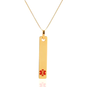 Gold Vertical Bar Medical Alert Necklaces for Women