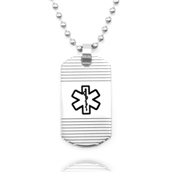 Grooved Stainless Medical Alert Dog Tag Necklace