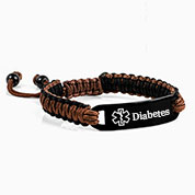 Chocolate and Black Drawstring Diabetic Bracelet