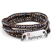 Purple Crystal Womens Multi Wrap Leather Epilepsy Bracelets