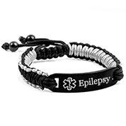Black & Gray Drawstring Macrame Epilepsy Bracelet