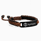 Chocolate and Black Drawstring Macrame Epilepsy Bracelet
