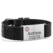 Adjustable Black Polyester Autism Bracelet