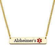 Alzheimers Gold Bar Medical Alert Necklace