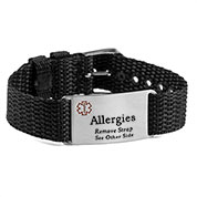 Adjustable Black Polyester Allergy Bracelet