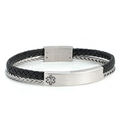 Black Leather Medical ID Bracelet with Silver Band