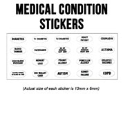 Sheet of Medical Condition Stickers
