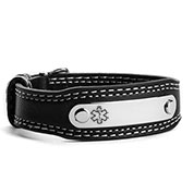 black leather medical alert bracelet