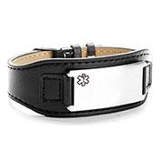 Dapper Adjustable Wide Leather Medical ID Bracelet