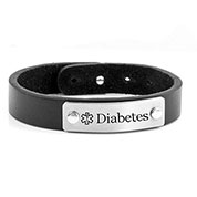 Adjustable Black Leather Diabetic Bracelet