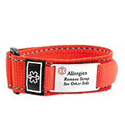 Adjustable Red Sports Strap Allergy Bracelet