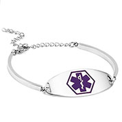 Adjustable Silver Medical Alert Bracelet with Purple Symbol