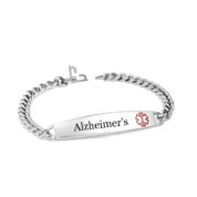Alzheimers Slim Stainless Bracelet 8 In with Safety Clasp