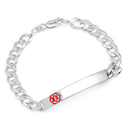 Andres Thin Curb Sterling Silver Medical Bracelet