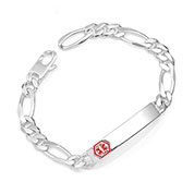 Tanner Sterling Link Medical ID Bracelet