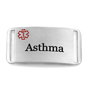 Asthma Stainless Steel Medical ID Tag - Fits Strap Bracelets