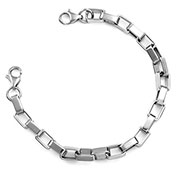 Six Inch Stainless Steel Square Link Bracelet (No Tag)