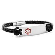 Jaya Black Leather Medical ID Bracelets