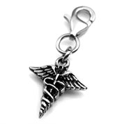 Stainless Caduceus Medical Charm for Bracelets/Pendants