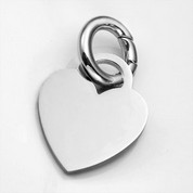 SM Polished Stainless Heart ID Tag for Purses, Pets, & More