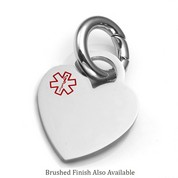 SM Stainless Heart Medical Alert Charms for Purses, Pets, & More