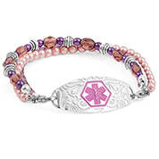Baroness Purple Beaded Medical Alert Bracelet