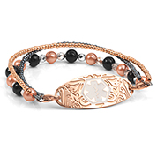 Beaded Medical bracelet with Rose Gold Designer Tag