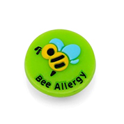 Bee Allergy Button for Kids Rubber Medical Bracelet