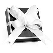 Black and White Gift Box with White Bow for Jewelry