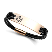 Braided Black and Rose Gold Leather Medical ID Bracelets