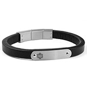 Black Leather and Silver Steel Medical ID Bracelet