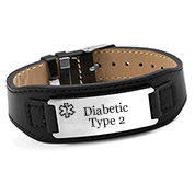 Black Leather Diabetic Type 2 Bracelet