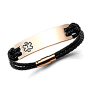 Braided Black Leather and Rose Gold Medical Bracelets