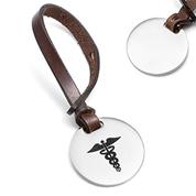 Brown Leather Medical Bag Tag